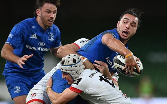 ames Lowe of Leinster is tackled by Michael Lowry, 15, and Jacob Stockdale of Ulster during the Guinness PRO14 Final match between Leinster and Ulster at the Aviva Stadium - GETTY IMAGES