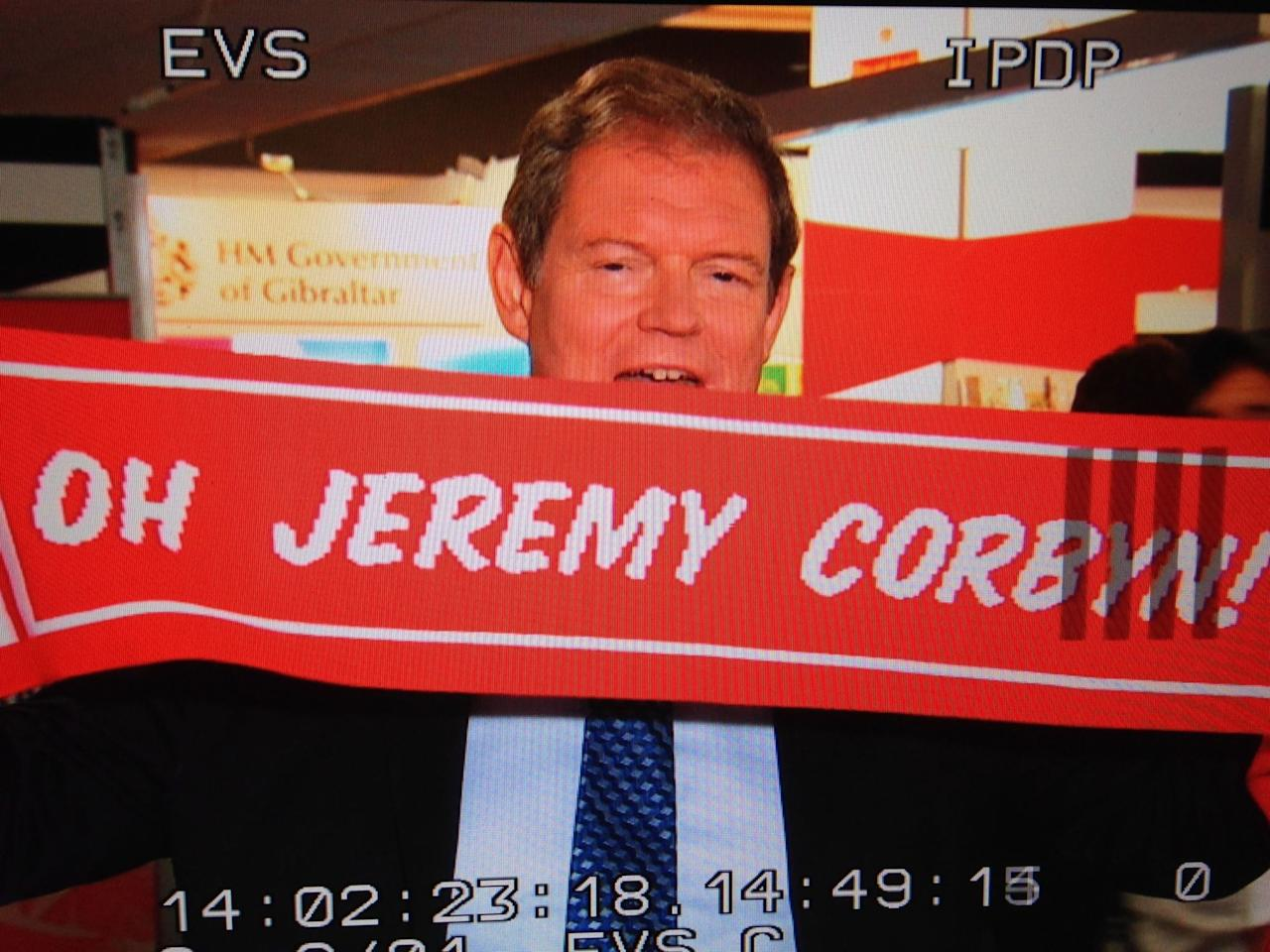 <p>Gone are the days of donning football scarves in public – in a few places they've even been banned, to stop confrontation. However, the Labour lot are clearly one step ahead of the rest here with their 'Oh Jeremy Corbyn' scarf. What better way to keep warm and show your political affiliation at the same time? (Sky News) </p>