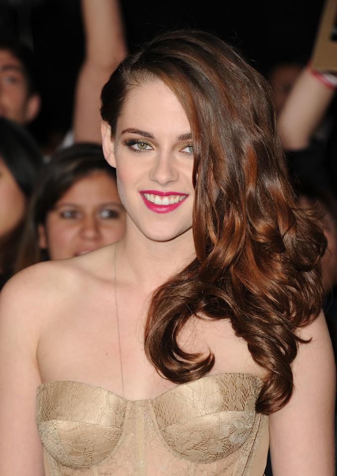 LOS ANGELES, CA - NOVEMBER 12:  Actress Kristen Stewart arrives at the premiere of Summit Entertainment's 'The Twilight Saga: Breaking Dawn - Part 2' at Nokia Theatre L.A. Live on November 12, 2012 in Los Angeles, California.  (Photo by Jason Merritt/Getty Images)