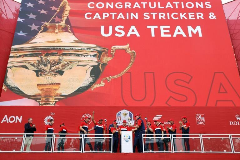 Dominant: The United States celebrate their Ryder Cup triumph over Europe at Whistling Straits (AFP/Warren Little)