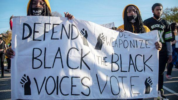 PHOTO: Activists from 12 local organizations marched through the city to call for the protection of Detroits votes over concerns of Donald Trumps claims that Democrats stole the election in Detroit, Nov. 7, 2020. (NurPhoto via Getty Images, FILE)