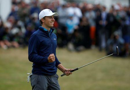 Golf - The 146th Open Championship - Royal Birkdale - Southport, Britain - July 23, 2017 USA's Jordan Spieth celebrates after holing a putt on the 18th green to win The Open Championship REUTERS/Paul Childs