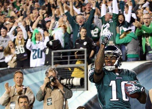 Philadelphia Eagles wide receiver DeSean Jackson celebrates his touchdown in the end zone during an NFL football game against the New York Giants, Sunday, Sept. 30, 2012, in Philadelphia. The Eagles won 19-17. (AP Photo/The Wilmington News-Journal, Suchat Pederson)
