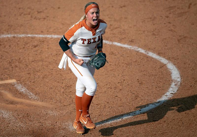 Texas pitcher Miranda Elish celebrates a strikeout against Houston during an NCAA college softball tournament Austin Regional game Sunday, May 19, 2019, in Austin, Texas. (Nick Wagner/Austin American-Statesman via AP)