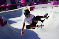 <p>Great Britain's Sky Brown during a training session at Ariake Skateboard Park on the tenth day of the Tokyo 2020 Olympic Games in Japan. (Photo by Adam Davy/PA Images via Getty Images)</p>