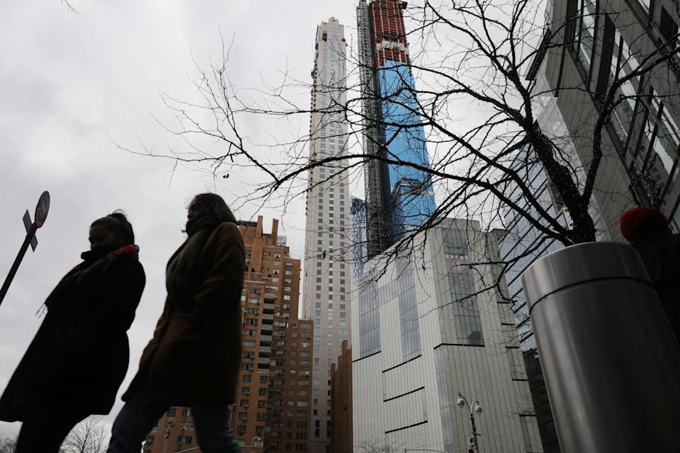 NEW YORK, NEW YORK - FEBRUARY 13: Newly built and ultra slim residential towers continue to grow along the New York City skyline on February 13, 2019 in New York City. A combination of advances in construction technology and a  new zoning policy that allows a developer to acquire unused airspace nearby, these skinny and tall towers are quickly becoming the chosen residences for the super rich. (Photo by Spencer Platt/Getty Images)