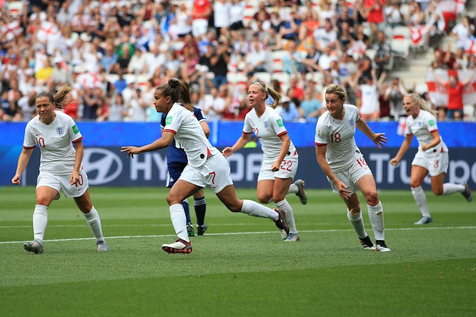 NICE, FRANCE - JUNE 09: Nikita Parris of England celebrates scoring the opening goal during the 2019 FIFA Women's World Cup France group D match between England and Scotland at Stade de Nice on June 9, 2019 in Nice, France. (Photo by Marc Atkins/Getty Images)