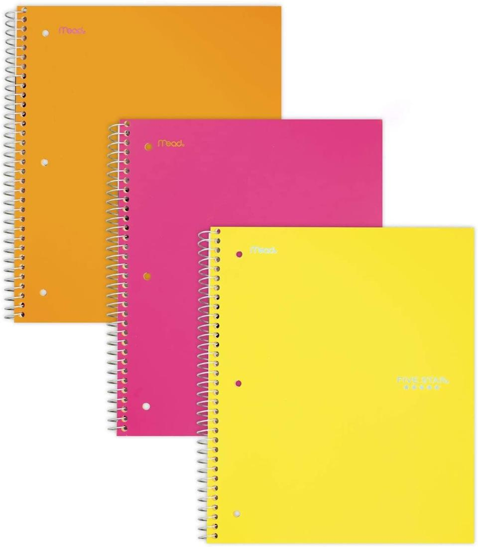 <p>You can't beat a classic, and spiral notebooks are a staple for middle school. These <span>Five Star Spiral Notebooks 1 Subject </span> ($21 for 3). come in a variety of color combinations so your kid can separate their school subjects by color. If a few of their classes require a lot of note-taking invest in the <span>Five Star Spiral Notebooks 3 Subject </span> ($35 for 3).</p>