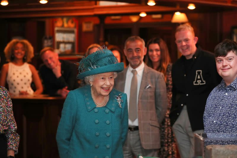 Britain's Queen Elizabeth visits the set of the TV series 'Coronation Street', in Manchester