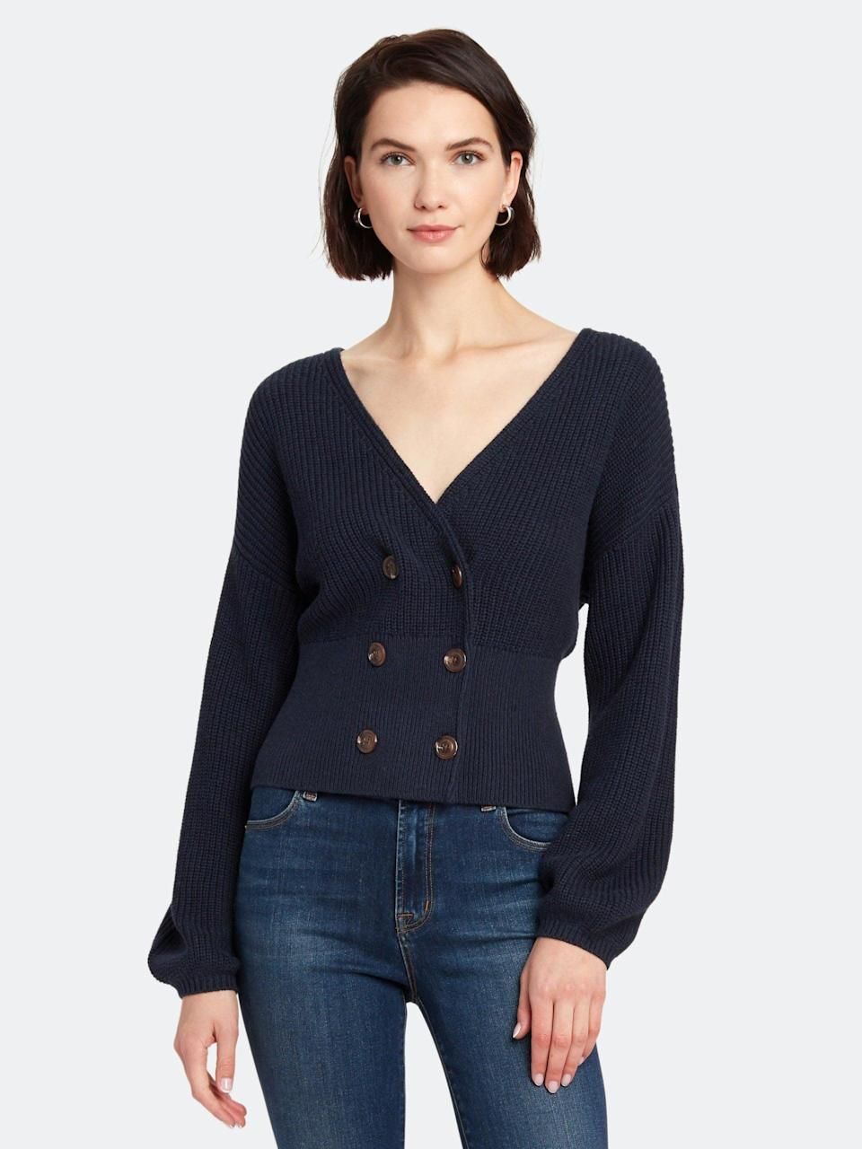 <p>This <span>Billie the Label Madeleine Double Breasted Sweater </span> ($62, originally $168) will elevate anything you wear it with.</p>