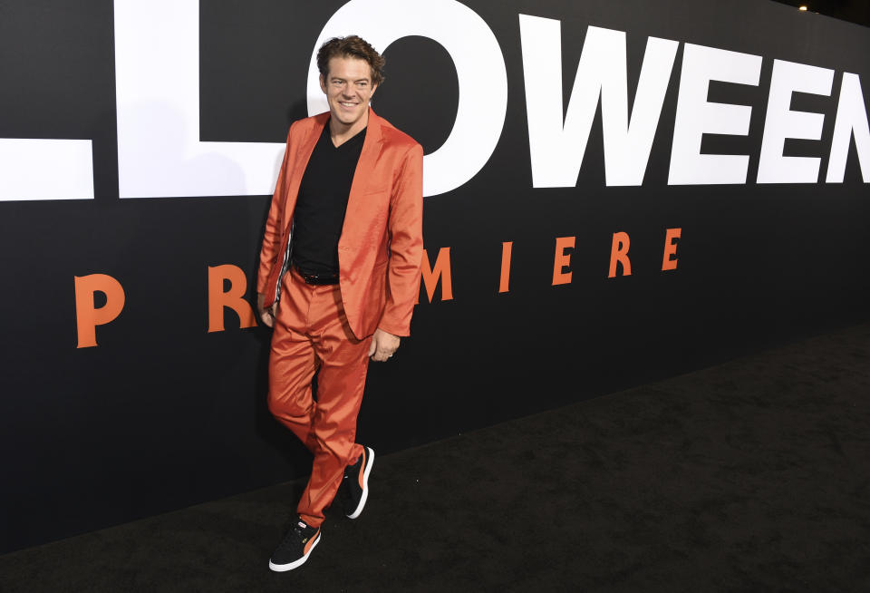 """Jason Blum, producer of """"Halloween,"""" arrives at the premiere of the film at the TCL Chinese Theatre, Wednesday, Oct. 17, 2018, in Los Angeles. (Photo by Chris Pizzello/Invision/AP)"""