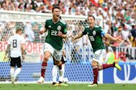 <p>Hirving Lozano of Mexico celebrates by sliding on his knees after scoring his team's first goal during the 2018 FIFA World Cup Russia group F match between Germany and Mexico at Luzhniki Stadium on June 17, 2018 in Moscow, Russia. (Photo by David Ramos – FIFA/FIFA via Getty Images) </p>