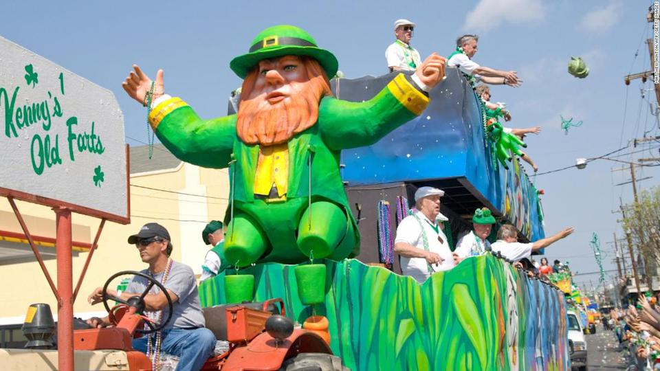 "<p>The Kenny's Old Farts float tosses cabbage on Magazine Street during the St. Patrick's Day parade during the 61th Annual Irish Channel Mass and Parade celebration on March 15, 2008 through the Irish Channel neighborhood of New Orleans. AFP PHOTO/Matthew HINTON (Photo credit should read Matthew HINTON/AFP/Getty Images)</p><div class=""cnn--image__credit""><em><small>Credit: Matthew Hinton/AFP/Getty Images / Getty</small></em></div>"