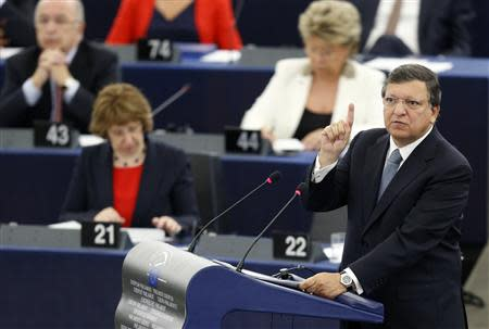 European Commission President Jose Manuel Barroso addresses the European Parliament during a debate on the state of union, in Strasbourg, September 11, 2013. REUTERS/Vincent Kessler