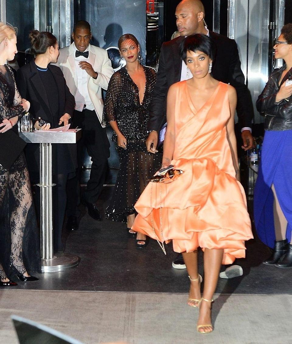 "<p>Elevators were never more culturally relevant than in May 2014, when footage leaked of Solange Knowles attacking Beyoncé's husband Jay-Z following a Met Gala after-party. Ten days later, the three of them <a href=""https://www.cosmopolitan.com/entertainment/news/a25264/jay-z-breaks-silence-on-elevator-fight/"" rel=""nofollow noopener"" target=""_blank"" data-ylk=""slk:released a joint statement"" class=""link rapid-noclick-resp"">released a joint statement</a> saying the family had ""worked through it,"" offering no explanation for the argument. But as Queen Bey sang in her ferocious track ""Flawless,"" ""Of course sometimes s—t goes down when there's a billion dollars in an elevator.""</p>"