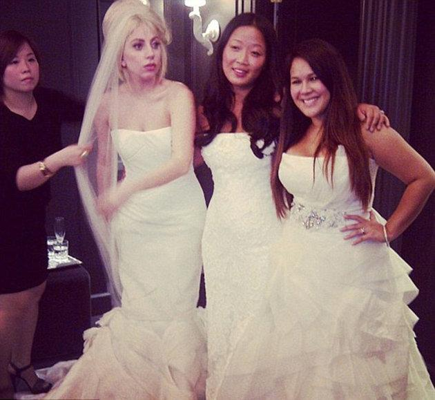 "Celebrity Twitpics: Lady Gaga sparked marriage rumours this week when she tweeted a photo of herself wearing a wedding dress. However, our hopes of a Gaga wedding were dashed when she revealed she was actually a bridesmaid. The singer tweeted: ""It's my best friends wedding she made us try on dresses! BRIDESMAIDS VERA [Wang] Baby."" [sic]"