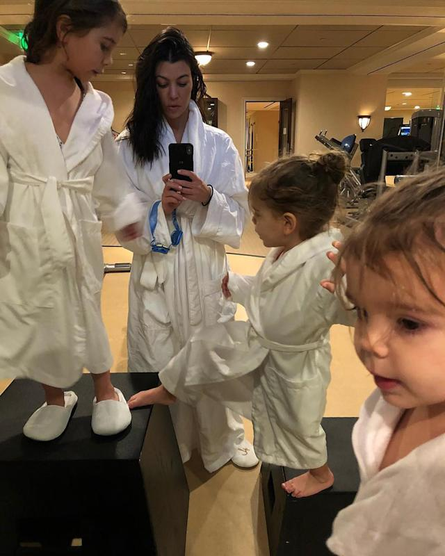 "<p>Kardashian threw a ""squad spa day"" for her little ones. They lived it up in robes and slippers. (Photo: <a href=""https://www.instagram.com/p/BdtRpgajVIU/?hl=en&taken-by=kourtneykardash"" rel=""nofollow noopener"" target=""_blank"" data-ylk=""slk:Kourtney Kardashian via Instagram"" class=""link rapid-noclick-resp"">Kourtney Kardashian via Instagram</a>) </p>"