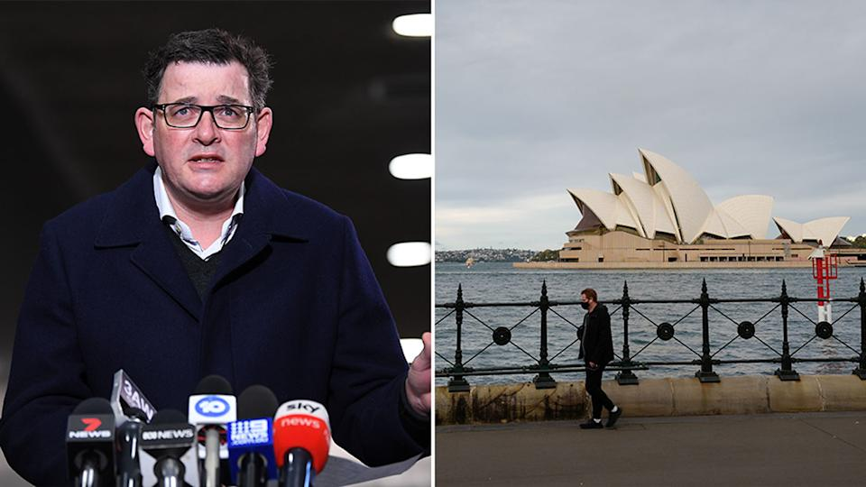Pictured is Daniel Andrews at a press conference and the Sydney Opera House amid the lockdown