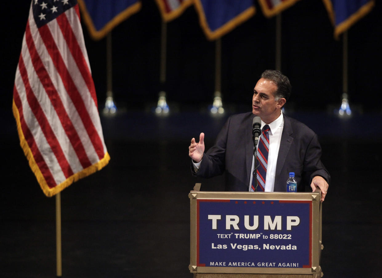 Danny Tarkanian speaks at a rally for candidate Trump in Las Vegas, June 18, 2016. (Photo: John Gurzinski/AFP/Getty Images)