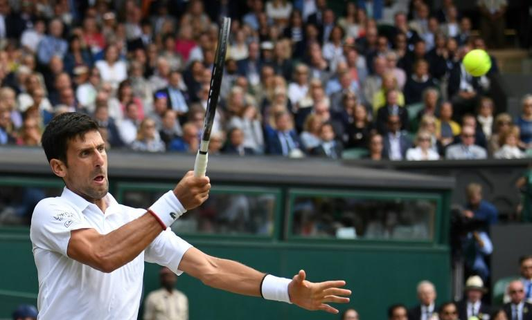Champion: Novak Djokovic on his way to victory in the epic 2019 final against Roger Federer