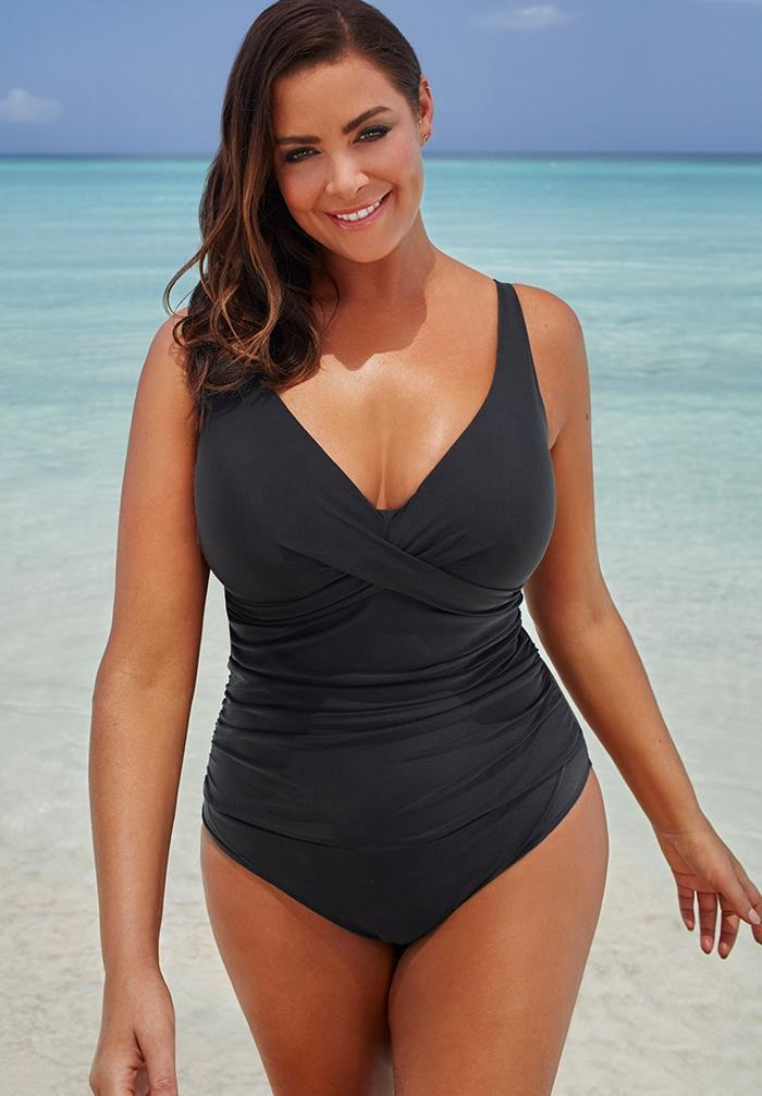 V-neck One Piece Swimsuit. Image via Swimsuits for All.