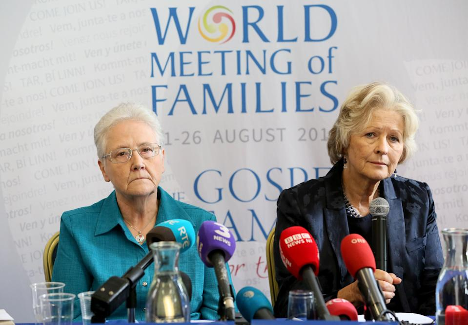 Marie Collins (L), a former member of the Pontifical Commission for Protection of Minors, and a survivor of clerical abuse (Getty)