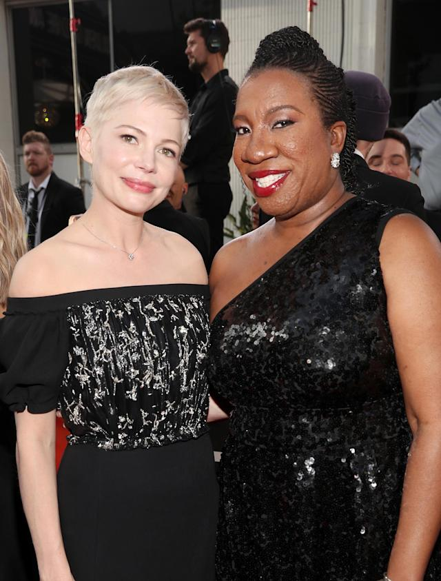 Actor Michelle Williams and activist Tarana Burke arrive to the 75th Annual Golden Globe Awards held at the Beverly Hilton Hotel on January 7, 2018. (Photo: Christopher Polk/Getty Images)