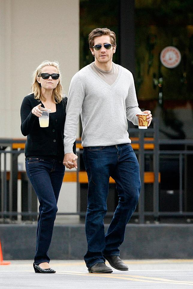 """Things between Reese Witherspoon and Jake Gyllenhaal (pictured here last month) are getting serious. According to Us Weekly, Jake has moved into Reese's Hollywood home and two are considering marriage. Revolutionpix/<a href=""""http://www.infdaily.com"""" target=""""new"""">INFDaily.com</a> - May 25, 2008"""