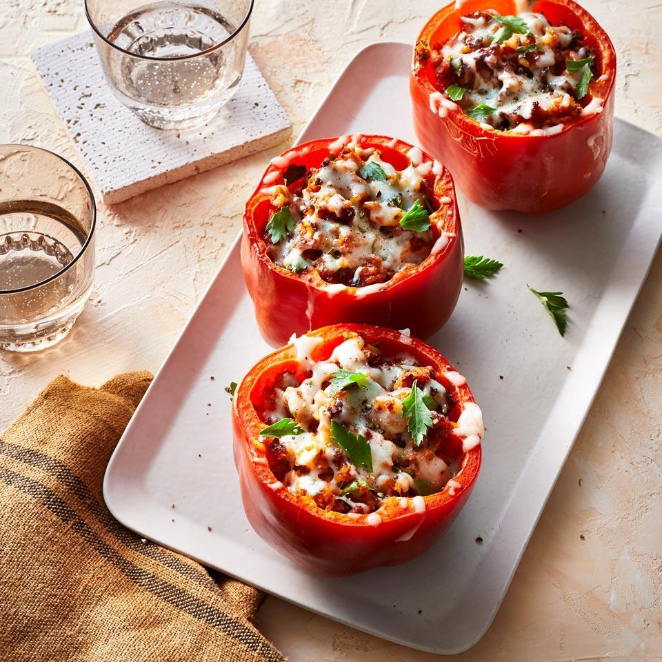 """<p>Stuffed peppers are a classic family meal--and they're fun to eat, too. Instead of roasting the sweet peppers in the oven, use an air fryer to get them crisp-tender but not soggy. <a href=""""http://www.eatingwell.com/recipe/270287/air-fryer-turkey-stuffed-peppers/"""" rel=""""nofollow noopener"""" target=""""_blank"""" data-ylk=""""slk:View recipe"""" class=""""link rapid-noclick-resp""""> View recipe </a></p>"""
