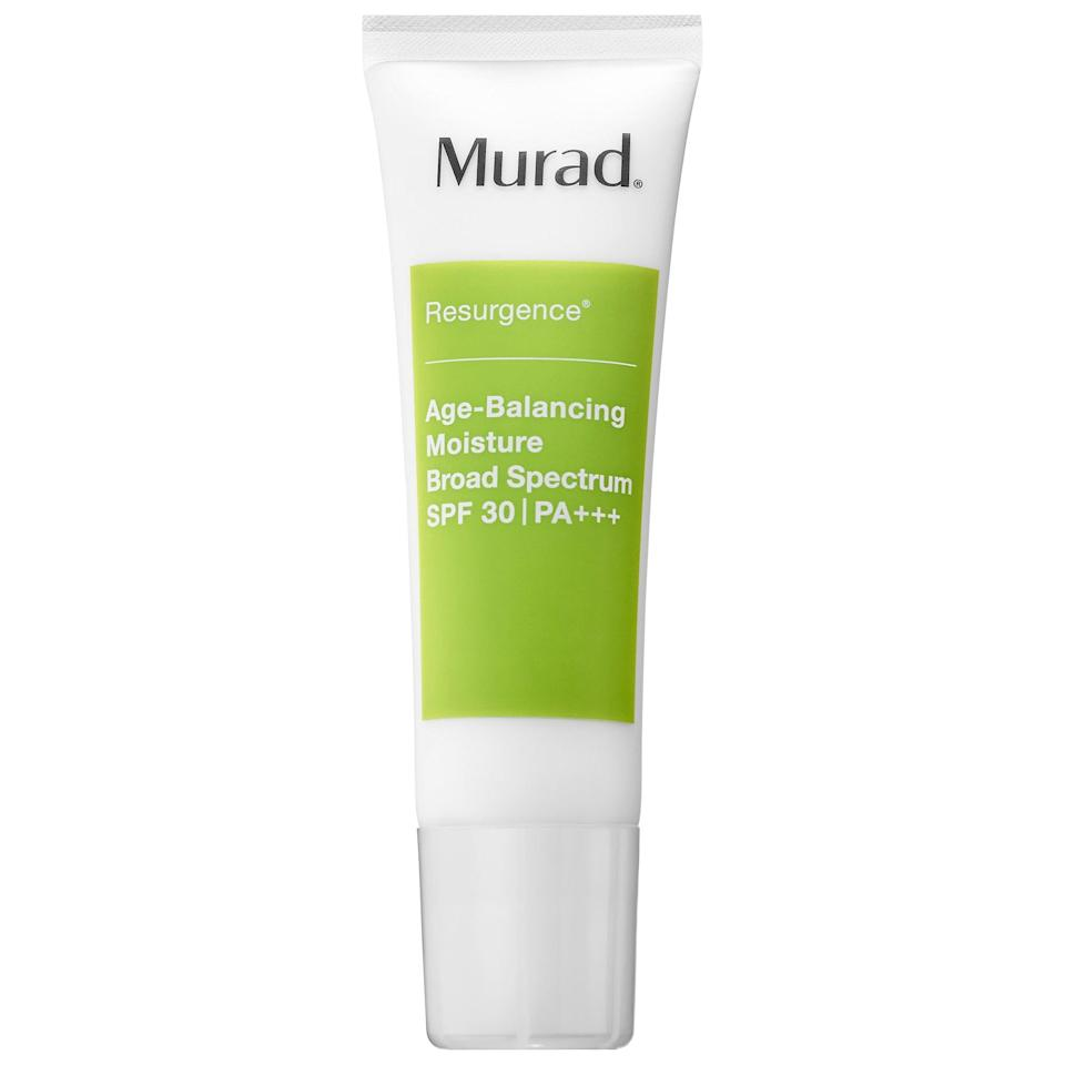 """<p>""""The <span>Murad Resurgence Age–Balancing Moisture Broad Spectrum SPF 30</span> ($74) is another sunscreen that I've found myself using consistently. Again, it doesn't leave behind any residue, but it also makes my skin feel so healthy and hydrated every time I apply it. It's definitely worth the splurge."""" - DJ</p>"""