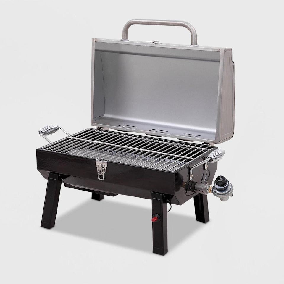 <p>The <span>Char-Broil Deluxe Tabletop 10,000 BTU Gas Grill 465640214 - Gray</span> ($90) includes a great stainless steel design with powder-coated finish and heat-resistant handle for easy opening and closing. It's great for parks, balconies, and the beach. </p>