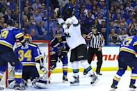 May 23, 2016; St. Louis, MO, USA; San Jose Sharks right wing Joel Ward (42) celebrates after scoring a goal against the St. Louis Blues in game five of the Western Conference Final of the 2016 Stanley Cup Playoffs at Scottrade Center. Mandatory Credit: Billy Hurst-USA TODAY Sports