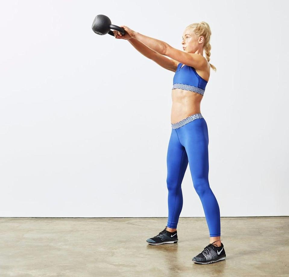 """<p><strong>Equipment needed:</strong> pair of medium- to heavy-weight dumbbells (five to 20 pounds) and a kettlebell if you have it. </p> <p>This <a href=""""https://www.popsugar.com/fitness/30-Minute-Weight-Loss-Workout-43736414"""" class=""""link rapid-noclick-resp"""" rel=""""nofollow noopener"""" target=""""_blank"""" data-ylk=""""slk:30-minute HIIT workout"""">30-minute HIIT workout</a> is an EMOM workout, which stands for every minute on the minute. You'll alternate doing burpees with strengthening moves like dumbbell thrusters and push-ups.</p>"""