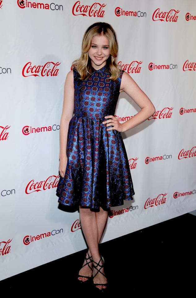 LAS VEGAS, NV - APRIL 26:  Actress Chloe Grace Moretz, recipient of the Female Star of Tomorrow Award, arrives at the CinemaCon awards ceremony at the Pure Nightclub at Caesars Palace during CinemaCon, the official convention of the National Association of Theatre Owners April 26, 2012 in Las Vegas, Nevada.  (Photo by Ethan Miller/Getty Images)