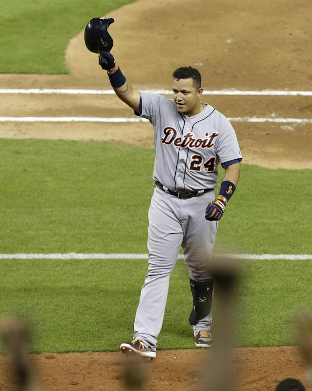 Detroit Tigers' Miguel Cabrera (24) acknowledges the crowd as he leaves the game for a pinch runner after hitting a single in the sixth inning during an interleague baseball against the Miami Marlins, Friday, Sept. 27, 2013, in Miami. (AP Photo/Lynne Sladky)