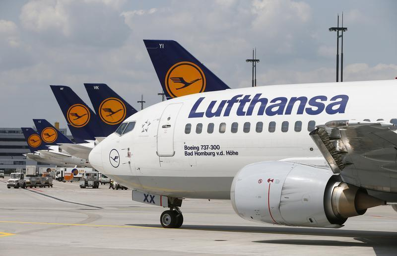 The tailplane of a Lufthansa Airbus 380 is pictured on the tarmac of Frankfurt airport