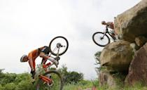 <p>IZU, JAPAN - JULY 26: (L-R) Mathieu van der Poel of Team Netherlands suffers a fall ahead of Thomas Pidcock of Team Great Britain during the Men's Cross-country race on day three of the Tokyo 2020 Olympic Games at Izu Mountain Bike Course on July 26, 2021 in Izu, Shizuoka, Japan. (Photo by Michael Steele/Getty Images)</p>