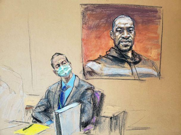 PHOTO: A courtroom sketch shows former Minneapolis police officer Derek Chauvin in front of a picture of George Floyd displayed during Chauvin's trial in the death of Floyd in Minneapolis, March 29, 2021. (Jane Rosenberg/Reuters)