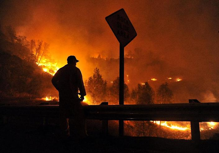 A firefighter looks towards approaching flames during the Rocky fire near Clear Lake, California on August 2, 2015 (AFP Photo/Josh Edelson)