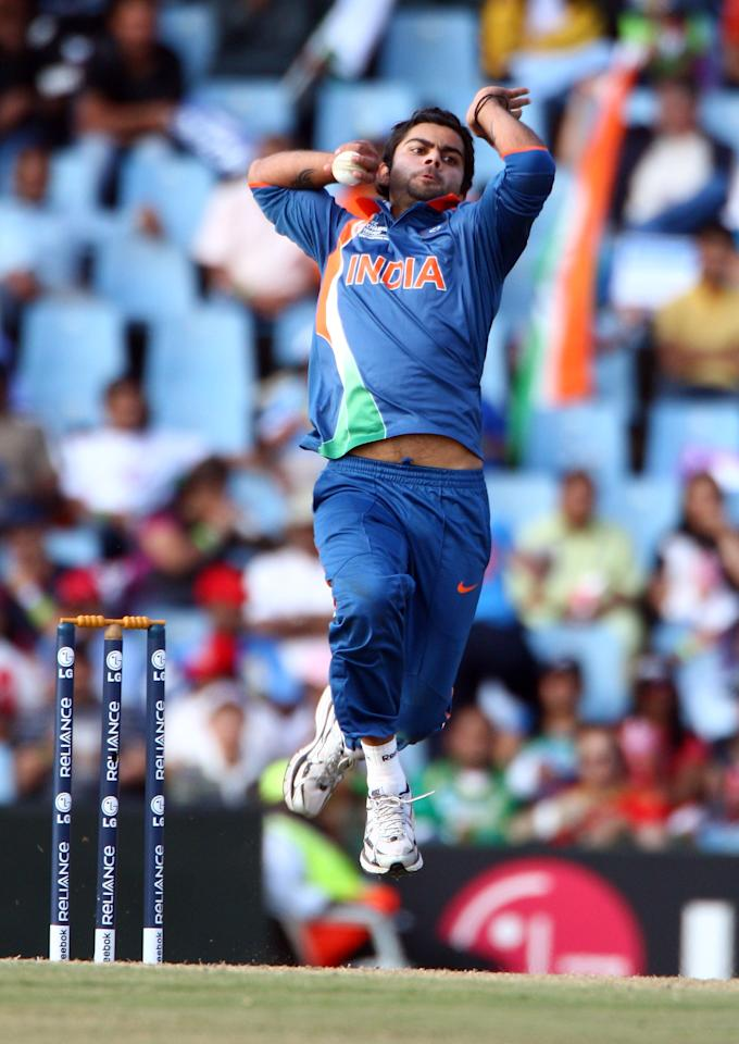 CENTURION, SOUTH AFRICA - SEPTEMBER 26: Virat Kohli of India bowls during The ICC Champions Trophy Group A Match between India and Pakistan on September 26, 2009 at The Supersport Stadium in Centurion, South Africa.  (Photo by Julian Herbert/Getty Images)