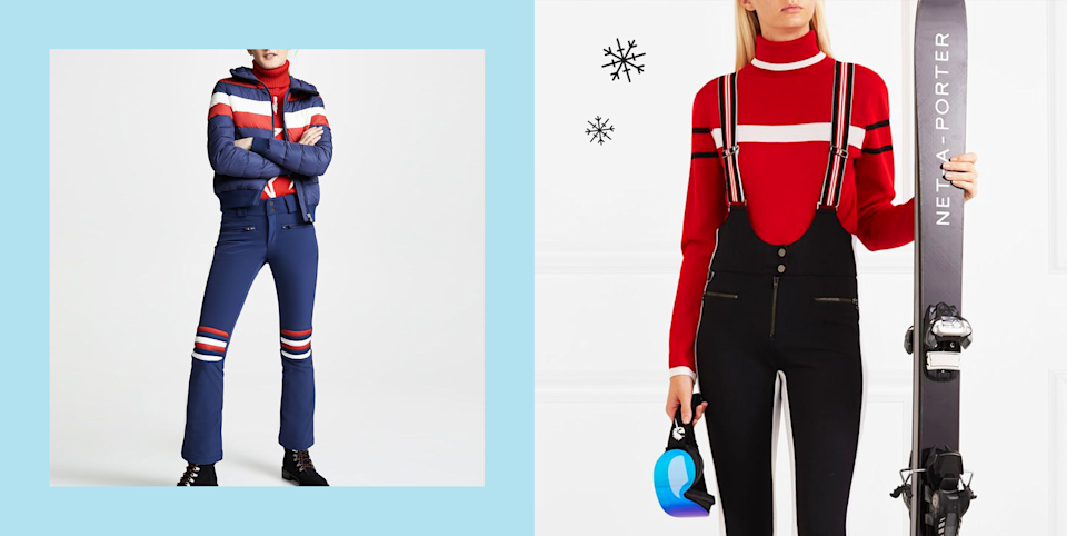 """<p>Maybe relatable, but I used to hate ski clothing because it always seemed super bulky and unflattering. But now there are so many cute and stylish <a href=""""https://www.cosmopolitan.com/style-beauty/fashion/g32675282/best-jean-denim-jacket-for-women/"""" rel=""""nofollow noopener"""" target=""""_blank"""" data-ylk=""""slk:jackets"""" class=""""link rapid-noclick-resp"""">jackets</a>, pants, and bibs out there that I've changed my stance and am officially pro-ski clothes. It's been a whirlwind of emotions, people. From retro, bold onesies to actually chic-looking bootcut ski pants, you'll look like a pro on the slopes (even if you're not at all, don't worry) when you wear any of these outfits. </p><p>And since doing a deep dive on all these fashion-forward snow ensembles, I had a pretty great time picturing myself in a fancy chalet, and starting at the snow outside while drinking hot cocoa in front of a fireplace. Of course, with the <a href=""""https://www.cosmopolitan.com/coronavirus-covid19-news-tips/"""" rel=""""nofollow noopener"""" target=""""_blank"""" data-ylk=""""slk:pandemic"""" class=""""link rapid-noclick-resp"""">pandemic</a> still going on (and with cases on the rise globally), it's best not to <a href=""""https://www.cosmopolitan.com/lifestyle/a33851737/vacations-during-covid/"""" rel=""""nofollow noopener"""" target=""""_blank"""" data-ylk=""""slk:book a ski trip"""" class=""""link rapid-noclick-resp"""">book a ski trip</a> right now, although that shouldn't stop you from perusing the below outfits if you want some <a href=""""https://www.cosmopolitan.com/winter-fashion/"""" rel=""""nofollow noopener"""" target=""""_blank"""" data-ylk=""""slk:winter fashion"""" class=""""link rapid-noclick-resp"""">winter fashion</a> inspo! </p><p>Not so much a ski person, but love the après-ski look? There are also more low-key options included like knit sweaters, <a href=""""https://www.cosmopolitan.com/style-beauty/fashion/g31814564/best-sweatpants-for-women/"""" rel=""""nofollow noopener"""" target=""""_blank"""" data-ylk=""""slk:sweatpants"""" class=""""link rapid-noclick-resp"""">sweatpants</a>, <a href="""