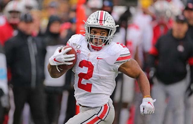 Ohio State RB J.K. Dobbins was the Buckeyes' star in the romp over Michigan. (Photo by Leon Halip/Getty Images)