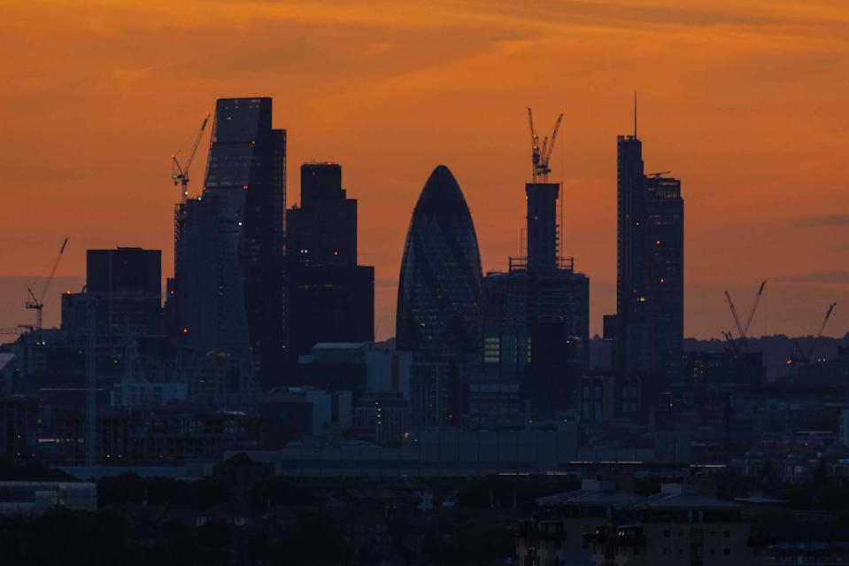 Golden sunset over London on the 24 August 2017 from Greenwich Park. View of 30 St Mary's Axe aka The Gherkin in the City of London. (Photo by Claire Doherty)