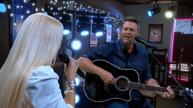 Gwen Stefani and Blake Shelton perform for the 55TH ACADEMY OF COUNTRY MUSIC AWARDS.