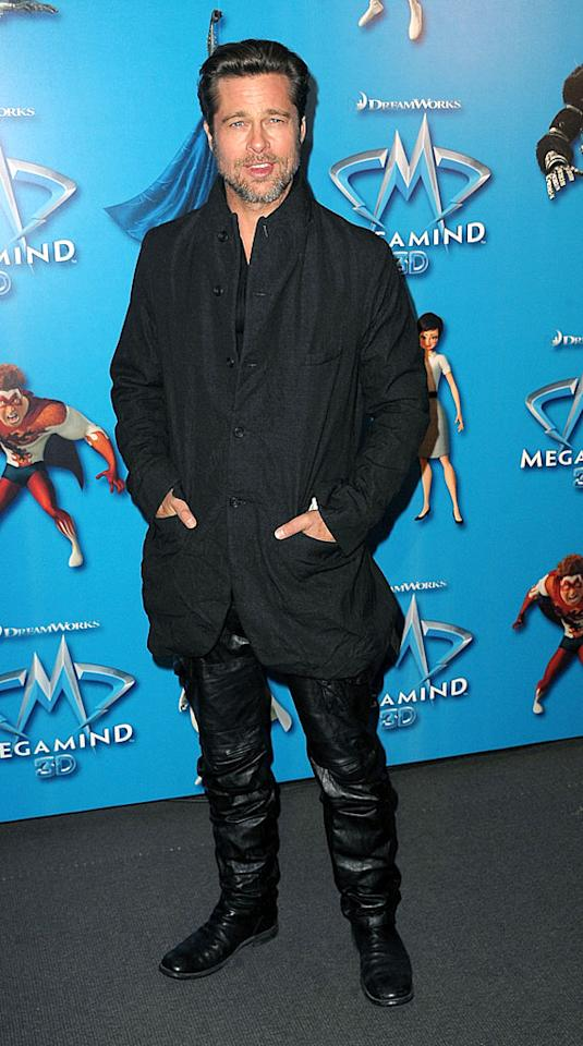 """Brad Pitt may be one of the hottest hunks in Hollywood, but he missed the mark in the baggy, wrinkly getup he donned to the Paris premiere of """"Megamind."""" Dominique Charriau/<a href=""""http://www.wireimage.com"""" target=""""new"""">WireImage.com</a> - November 29, 2010"""