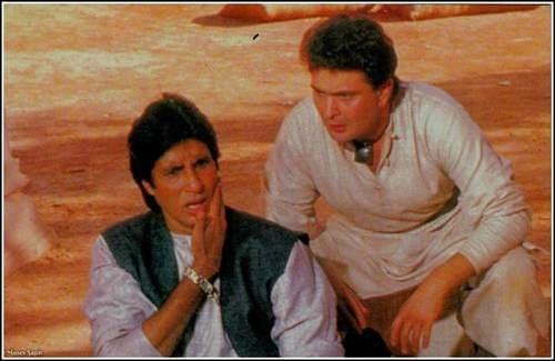 "<div class=""paragraphs""><p>Amitabh Bachchan and Rishi Kapoor on the sets of Ajooba.</p></div>"