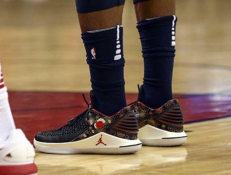 Feb 23, 2018; Houston, TX, USA; General view of the shoes of Minnesota Timberwolves guard Jimmy Butler (23) during the game against the Houston Rockets at Toyota Center. Mandatory Credit: Troy Taormina-USA TODAY Sports