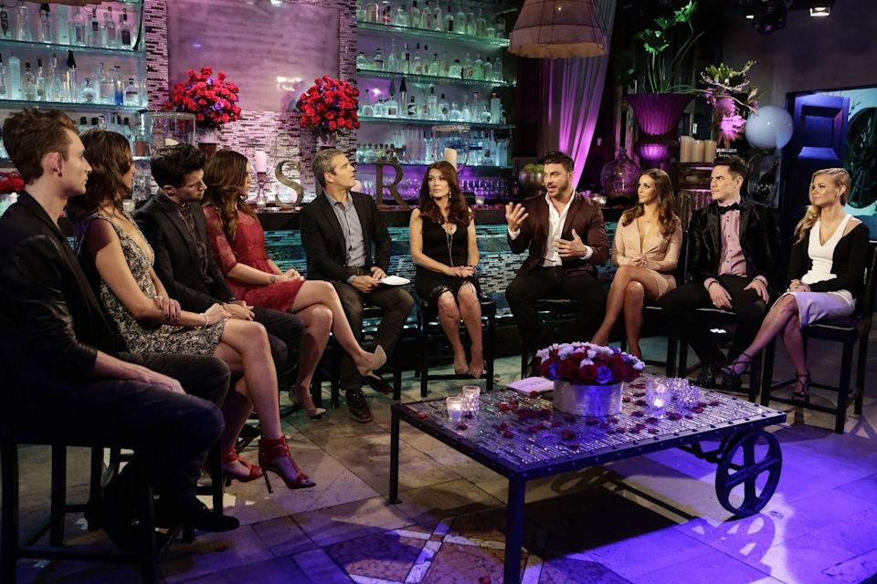 """<p>Even though reunions are daunting filming days for the cast, Bravo has a blanket policy that cast members must show up and film—unless they want to <a href=""""https://www.marieclaire.com/culture/g32946784/real-housewives-bravo-rules/"""" rel=""""nofollow noopener"""" target=""""_blank"""" data-ylk=""""slk:risk getting fired"""" class=""""link rapid-noclick-resp"""">risk getting fired</a>, like some of the <em>Real </em><em>Housewives </em>have.</p>"""