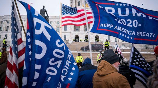PHOTO: Supporters gather during a rally supporting President Trump at the Minnesota Capitol, Saturday, Jan. 9, 2021, in St. Paul, Minn. (Leila Navidi/Star Tribune via AP)