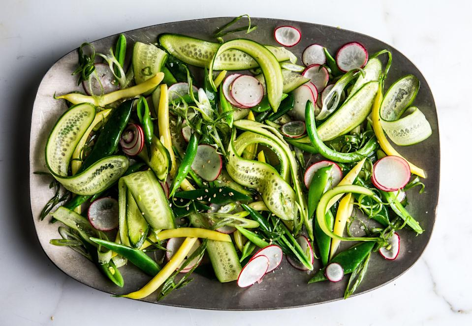 """The salt in the ice water seasons cooked veg while they cool. <a href=""""https://www.bonappetit.com/recipe/the-crunchiest-vegetable-salad?mbid=synd_yahoo_rss"""" rel=""""nofollow noopener"""" target=""""_blank"""" data-ylk=""""slk:See recipe."""" class=""""link rapid-noclick-resp"""">See recipe.</a>"""